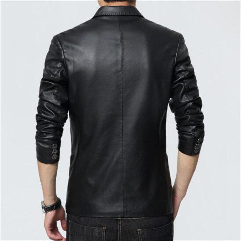 Hommes en cuir veste 2018 nouveau Blazer Style Slim Fit PU en cuir veste hommes grande taille solide homme manteau hommes vêtements - 4