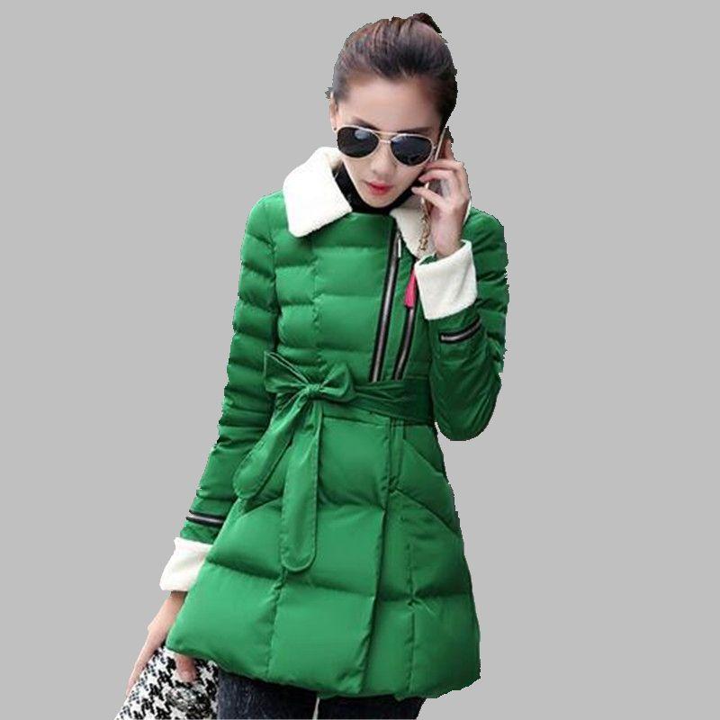 ФОТО New 2016 Winter Cotton Coat Women Slim Plus size Outwear Medium-long Wadded Jacket Thick Lambs wool Warm Cotton Parka G2788