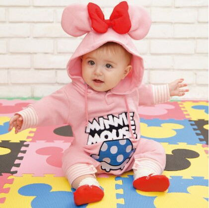 Autumn / Winter Baby Rompers Fleece Warm Thick Baby Clothes Cartoon Lovely Pink Mini Mouse Jumpsuits Soft Cotton Toddler Costume