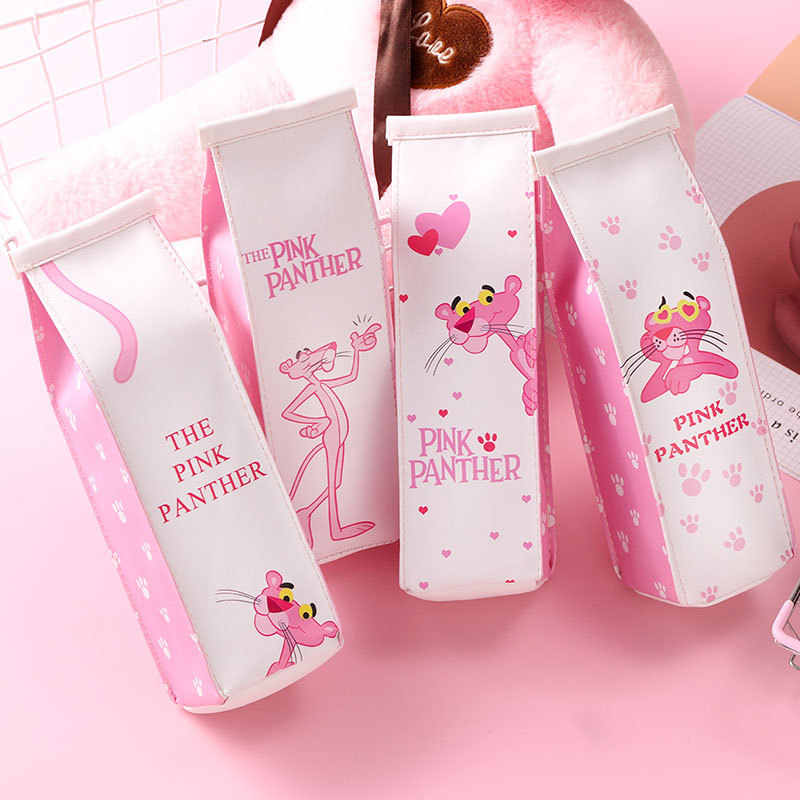 Cartoon Pink Panther Milk Large Capacity Pencil Bag Stationery Storage Organizer Pencil Case School Supply