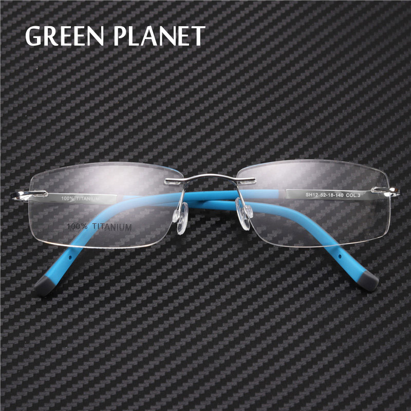 Green Planet Unisex Pure Titanium Frame Eyeglasses Rimless Flexible Without Degree Optical Frameless Glasses#SH12