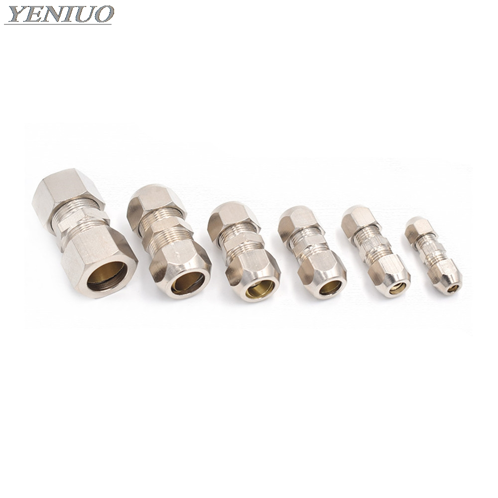 Compression Ferrule Tube Fitting 4-16mm Brass Pipe Double Card Set Copper Joints Tubing Nut Lock Double Straight