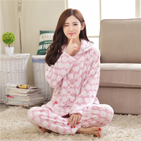 New Autumn Winter Plus velvet pajamas women lovely Long sleeves Turn down Collar Luxury distinguished Flannel Sets nightgown