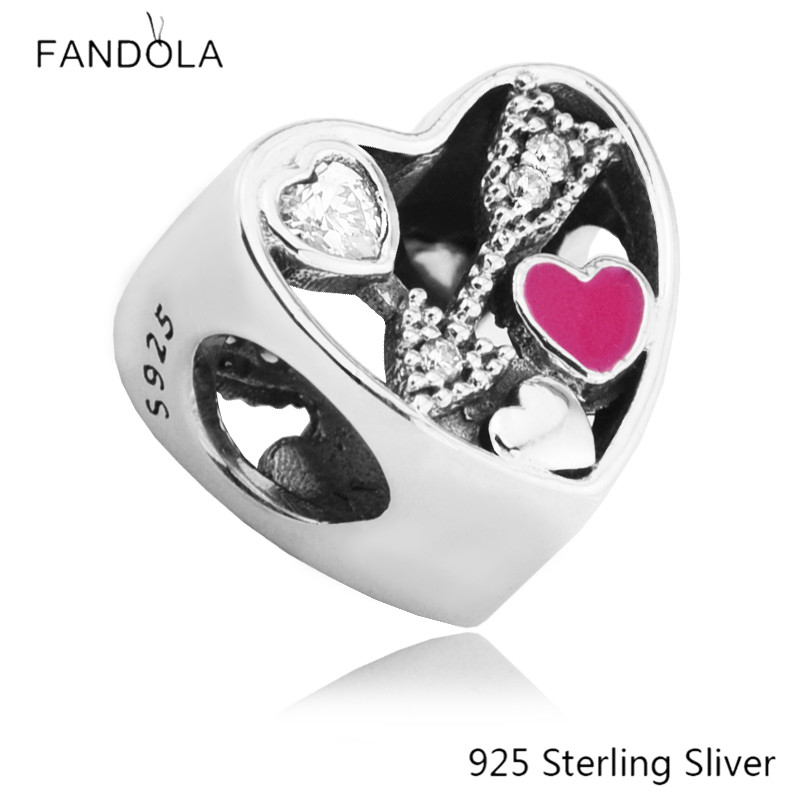 925 Sterling Silver Struck by Love Charm with Color Heart Arrow Fits Pandora Bracelet Beads for Jewelry Making