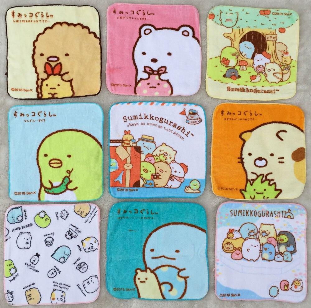 NEW Cartoon Sumikko Gurashi Baby Cotton Handkerchief Square Pocket Hanky Zakdoek Printed Handkerchiefs Kids Portable Towels 20CM