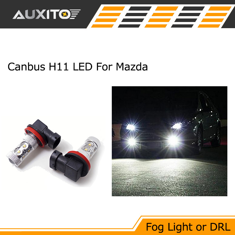 где купить 2x H11 H8 CANBUS LED Fog light Daytime Light Lamp Bulb For MAZDA 3 5 6 CX-5 CX-9 MX-5 Miata axela дешево