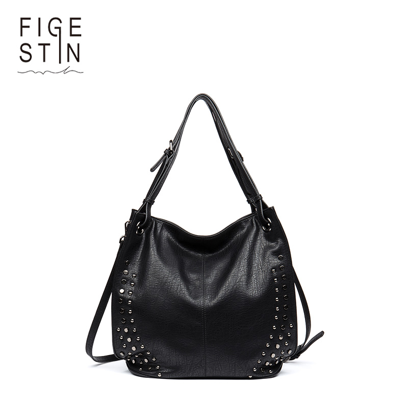 FIGESTIN Rivet PU Leather Luxury Handbags Women Bags Designer Famous Brand Female Tote Bag Big Shoulder bags for women 2017 pu leather women bag big casual tote vintage patchwork woman shoulder bags luxury handbags famous brand designer women handbag