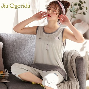 Image 2 - Homewear Pajamas for Women Summer Sleeveless Calf length Pants 100% Cotton Plus Size Floral Pyjama Female Cotton Pink Pijama Set