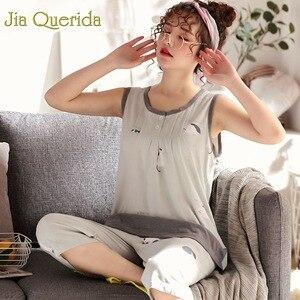 Image 2 - Homewear pyjamas pour femmes été sans manches mollet longueur pantalon 100% coton grande taille Floral Pyjama femme coton rose Pijama ensemble