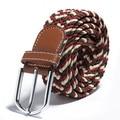 Moda Mulheres Homens Unisex Tecido Cinto de Lona Pin Fivela de Couro Elastic Estiramento Cintura Banda