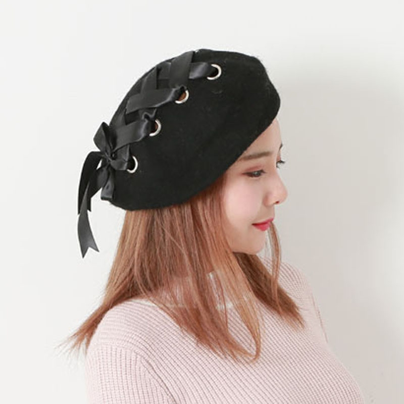 857f9fa50129d Japanese Sweet Cute women s hats Berets Female Soft Ribbon Wool Lolita Beret  Vintage Straps Cross Bow Berets winter painter hat-in Berets from Apparel  ...
