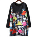 Maternity Dresses Clothing Long Sleeve Fashion Pregnancy Clothes for Pregnant Women Black Cute Cartoon Pregnant Dress New