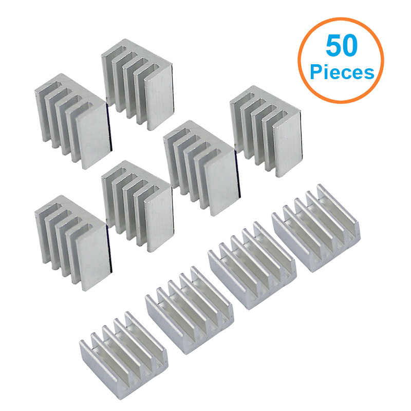 50 Buah/Lot Aluminium Heatsink 8.8*8.8*5 Mm Elektronik Chip Radiator Pendingin W/Termal Perekat Dua Sisi tape untuk IC 3D Printer