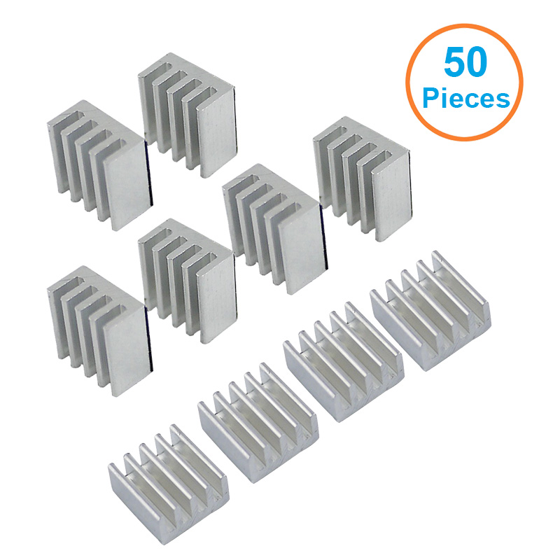 50pcs/lot Aluminum Heatsink 8.8*8.8*5mm Electronic Chip Radiator Cooler w/ Thermal Double Sided Adhesive Tape for IC,3D Printer 5pcs lot pure copper broken groove memory mos radiator fin raspberry pi chip notebook radiator 14 14 4 0mm copper heatsink