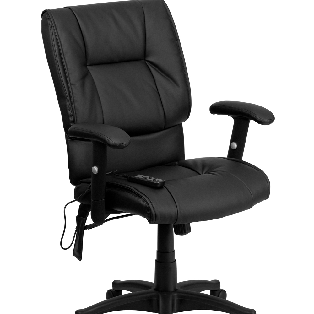 Flash Furniture Mid-Back Massaging Black Leather Executive Office Chair [863-BT-2770P-GG]