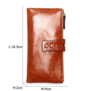 Image 4 - Portefeuilles cire dhuile pour femmes, portefeuille en cuir véritable féminin, fermeture éclair, porte monnaie à Long support pour téléphone, nouvelle mode 2020
