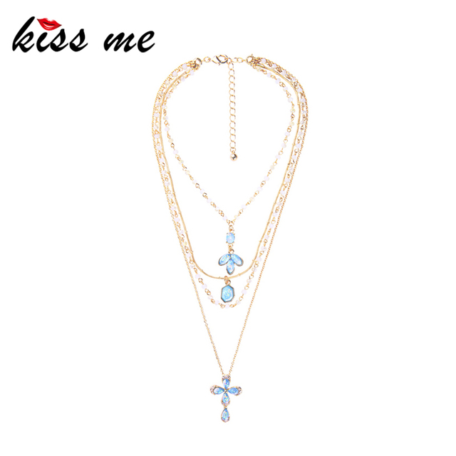 KISS ME Light Blue Resin Flower Pendant Necklace Women Mixed Beads Chain Layered Necklace Fashion Jewelry