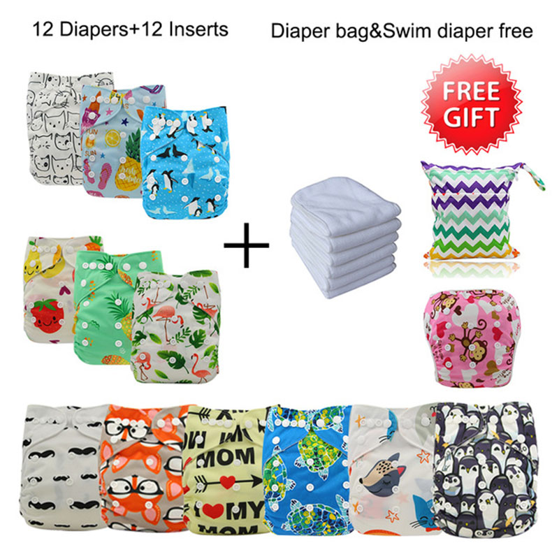 Baby Cloth Diaper Cover Christmas Reusable Pocket Diapers 12pcs+12pcs Microfiber Insert+1Free Bag+1Free Swim Diaper Baby Nappies цена