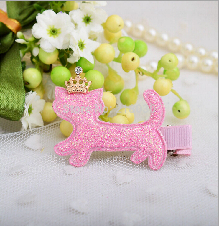 2 PIECES/LOT cartoon fabrics hairpins cute crown cat hair clips Korean design girls hair barrettes colors kitty hair accessories hot sale korean acrylic hair clips for women 3 colors dot hairpins barrettes for girls 2016 new fashion hair accessories