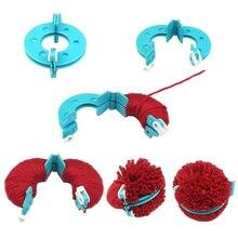 Новинка 8 шт. Набор для изготовления помпонов для вязания различных размеров инструмент для изготовления плюшевых шариков TE889
