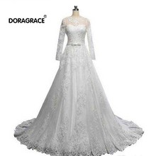 Doragrace Real Photos 3/4 Sleeve Lace Wedding Gowns Plus Size Dresses