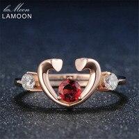 Lamoonหัวใจทับทิมแหวนสำหรับผู้หญิงธรรมชาติรอบสีแดงโก