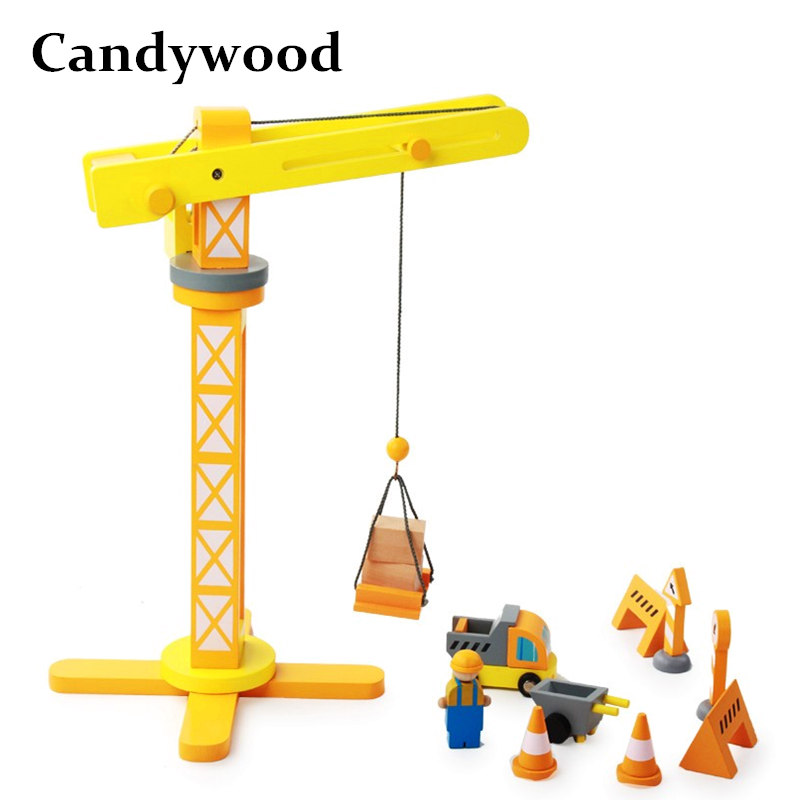 Candywood Assemble Crane Model Building Kits Children Educational Creative Simulation Blocks wooden toys for boy gifts ...
