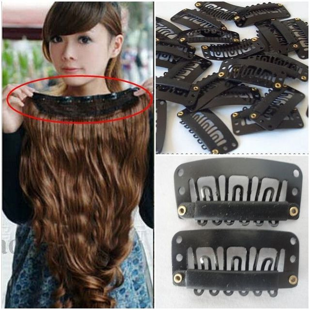 Hot Sale Women 20pcs Snap Comb Clips 32mm For Toupee Wig Weft Hair