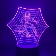 """Светодиодный Ночной светильник """"Человек-паук"""" Marvel Superhero 7 цветов Изменение сенсорный переключатель ночной Светильник Usb Батарея питание настольная лампа 3d"""