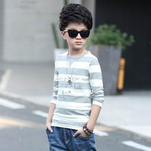 Boys lengthy sleeve spring / autumn T-shirt 2017 new  child boy clothes huge virgin striped knit shirt 6/7/eight/9/10/11/12/13/14 years
