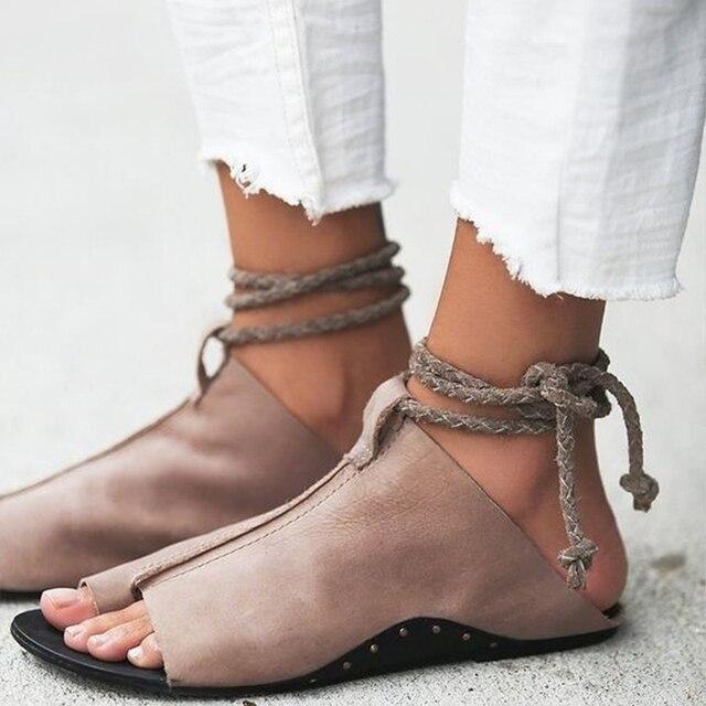 Sandalias mujer verano moda tobillo con correa, sandalias planas de señoras, sandalias de gladiador mujeres piel suave playa.