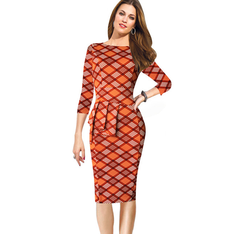 Oxiuly Women s Vintage 50S 60S Flower Plaid Cherry Print Work Pencil Dress font b Tartan