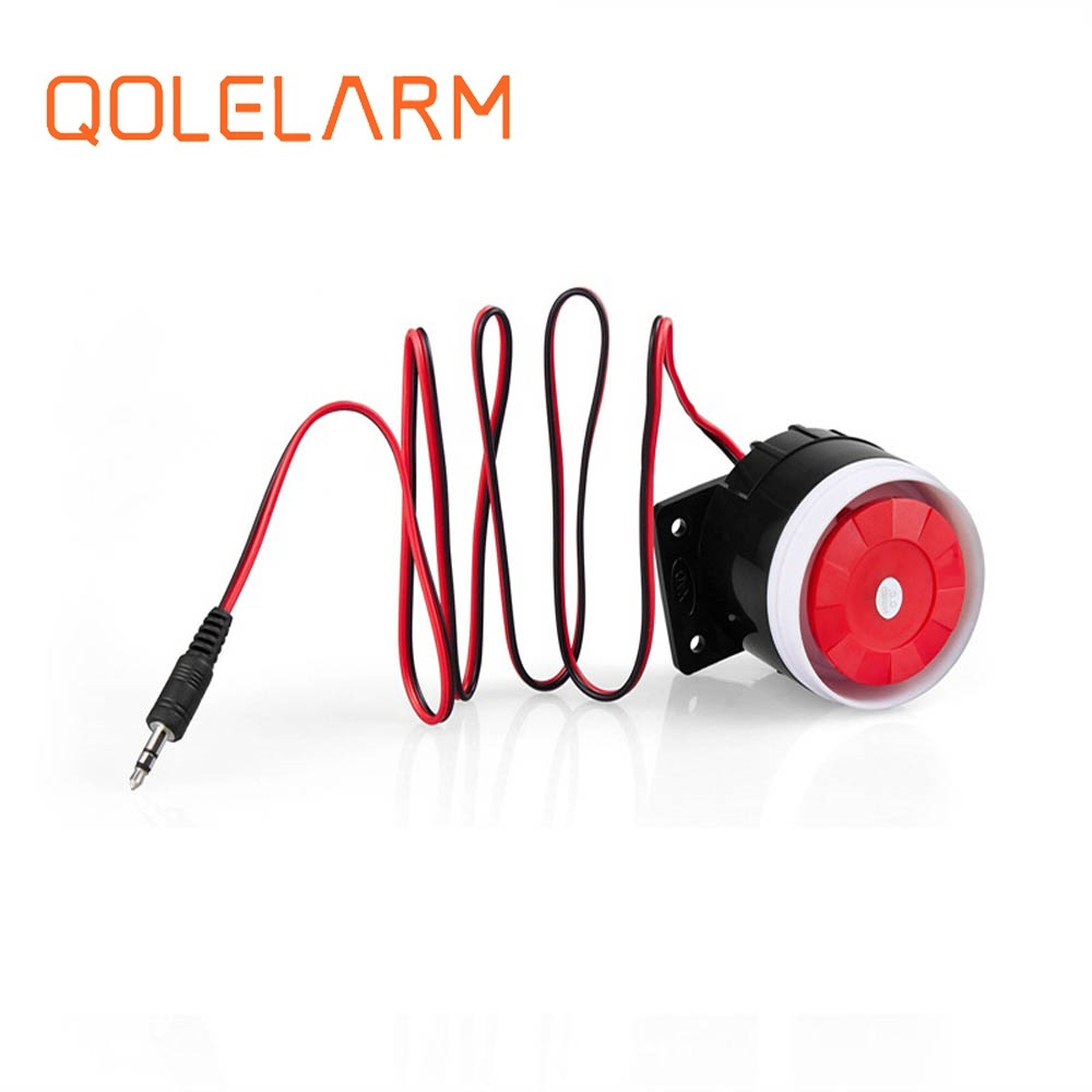 Qolelarm free shipping <font><b>120dB</b></font> 6-12VDC wired indoor mini siren Horn loudly siren for gsm wireless alarm system image