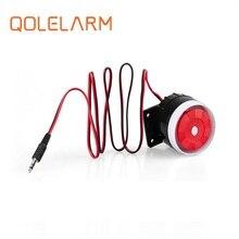 Qolelarm gratis verzending 120dB 6 12VDC wired indoor mini sirene Hoorn luid sirene voor gsm draadloze alarmsysteem