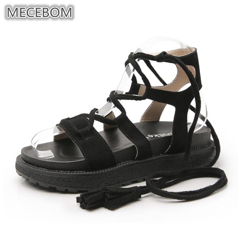 c6589eb7b1 Summer Women's Sandals fashion fringe lace-up flats platform woman shoes  ladies plus size sandals
