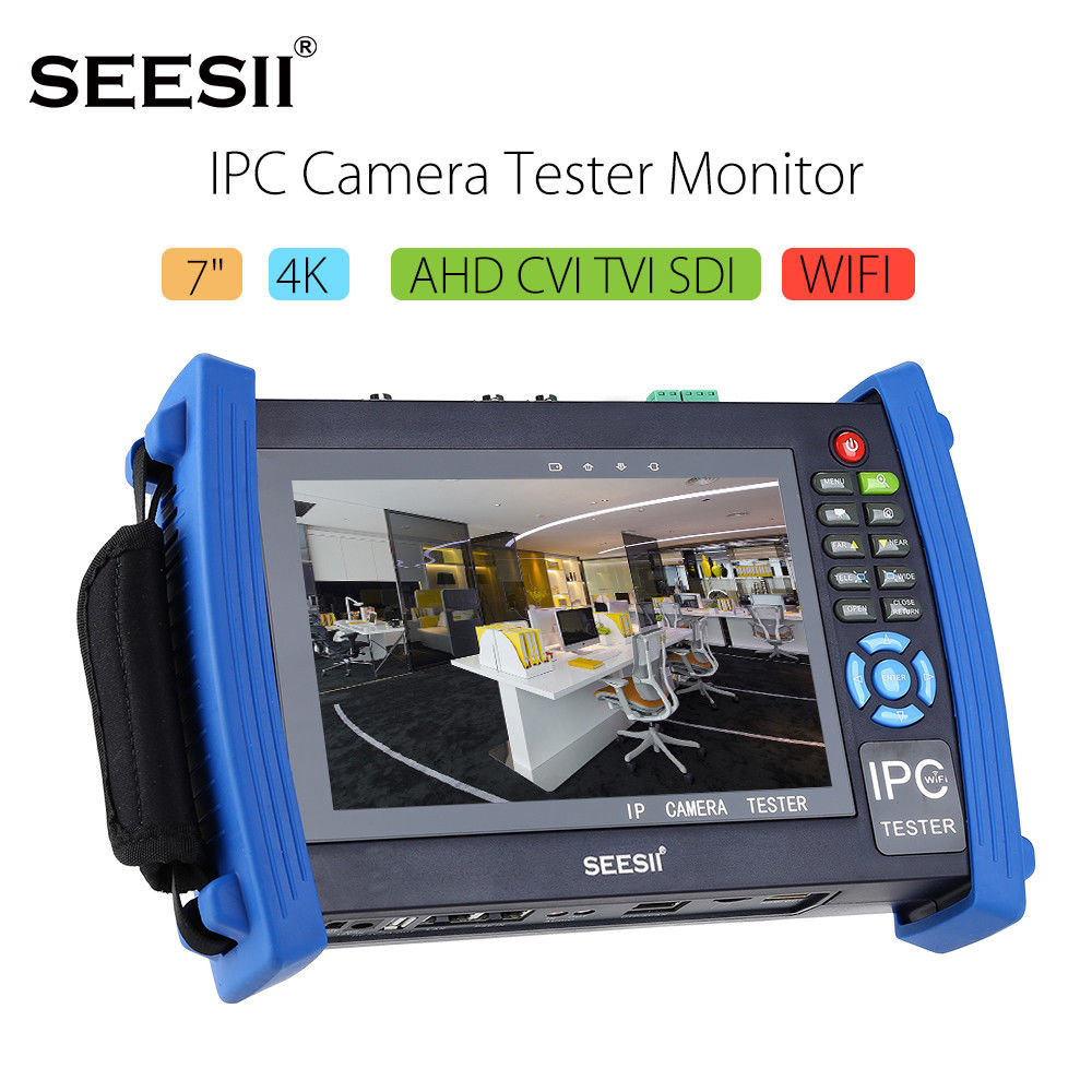 SEESII 8600ADHSPLUS 4K 7 WIFI H.265/PTZ Control IPC CCTV Camera Monitor Tester AHD/TVI/CVI/SDI Analog Test With IP HDMI 8GB ipc9300 ipc wifi ahd tvi cvi analog 4 3 touchscreen cctv tester for ip analog camera 1080p bnc network cable tester wifi 8gb