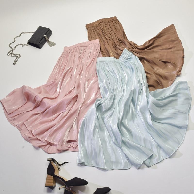 2018 Women Autumn Long Skirt Fashion Brand Top Quality Women Pleated Skirts Pink High Waist Women Skirts White Faldas Saias Jupe