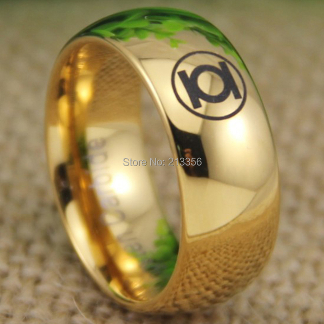 free shipping usa uk canada russia brazil hot selling 8mm shiny golden dome green lantern super - Green Lantern Wedding Ring