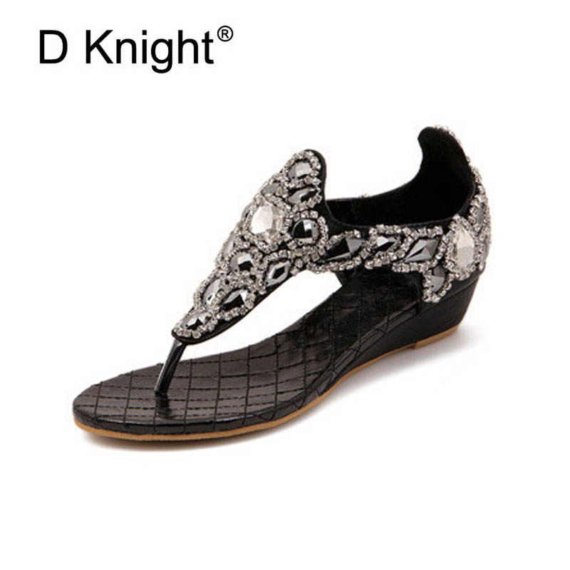 Fashion Women Sandals Flip Flops Summer Gladiator Platform Wedges Beach Shoes Woman Bling Luxury Rhinestone Lady High Heel Shoes rhinestone silver women sandals low heel summer shoes casual platform shiny gladiator sandal fashion casual sapato femimino hot