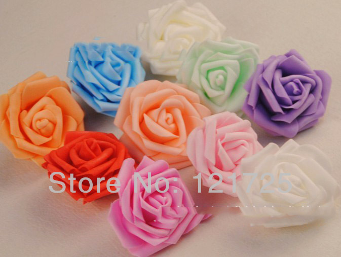 Artificial Flower Heads 7cm PE Rose Wedding party Hair dressing decoration