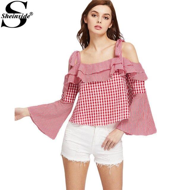 Sheinside плед рябить блузка 2017 женщин красный многоуровневое холодный милые летние топы мода flare рукавом смешанные клетчатая блузка