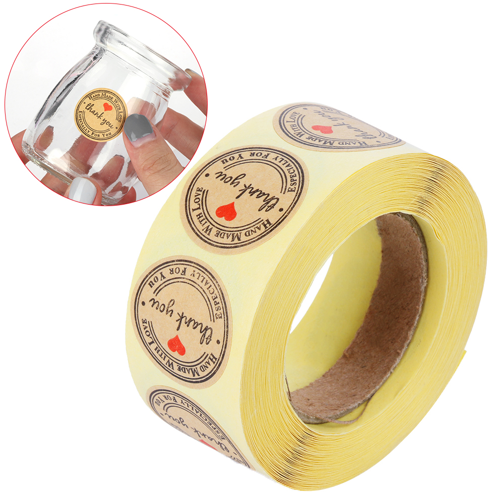 Obedient 500pcs/roll Handmade With Love Kraft Paper Stickers Wedding Decor Party Supplies Cards Box Package Label Sealing Stickers Extremely Efficient In Preserving Heat Party Diy Decorations Festive & Party Supplies