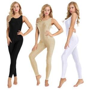 Image 2 - TiaoBug Donne Senza Maniche Elastico Unitard di Yoga di Ballo Body Adulti Ginnastica Body Sport Tuta Pratica di Balletto Dancewear