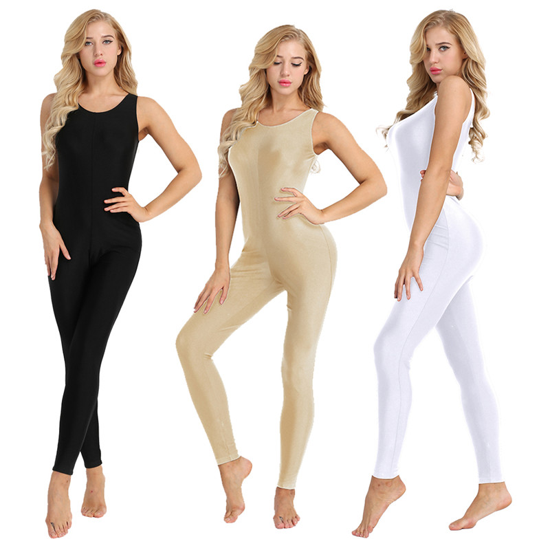 TiaoBug Women Sleeveless Stretchy Unitard Yoga Dance Bodysuit Adult Gymnastics Leotard Sports Jumpsuit Ballet Practice Dancewear