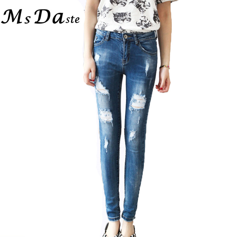 Women Pencil Jeans Pants 2017 Summer Water-Wash Vintage Holes Ripped Torn Denim Pants Casual Jeans Trousers Mujer Pantalon femme women girls casual vintage wash straight leg denim overall suspender jean trousers pants dark blue
