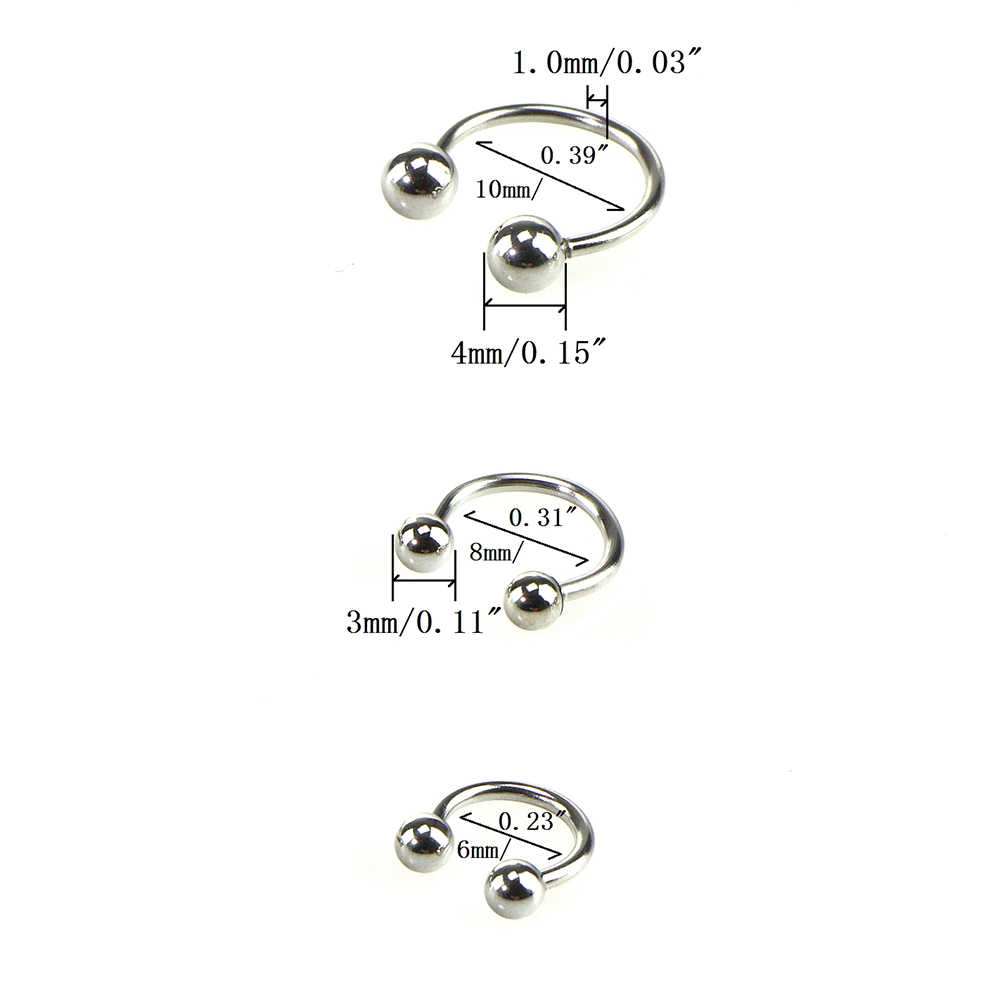 1pcs nariz septo anel lábio nipple sobrancelha lóbulo anéis hoop ferradura orelha piercings para mulher masculino aço jóias do corpo