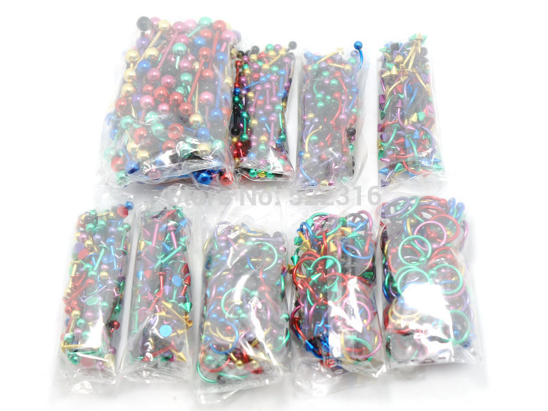 wholesale body piercing jewelry mix lots 900pcs color mix tongue ring earring eyebrow ring lip jewelry