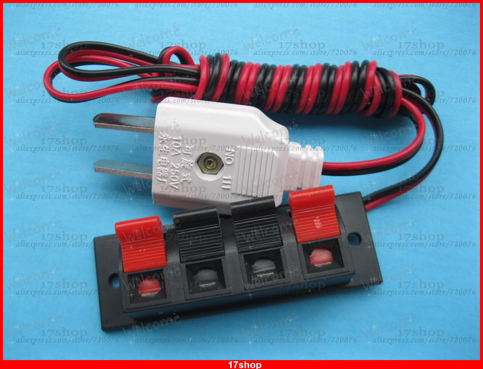 3 pcs 4 Pin Speaker Terminal Board Spring Loaded W/ US Adapter Plug 1.5m Cable new terminal board cable ac10tb