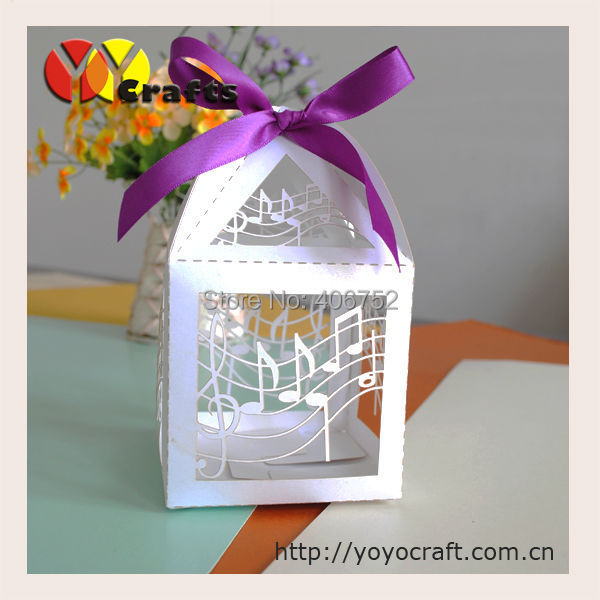 Free Shipping Laser Cut Music Note Favour Boxes For Weddings Laser