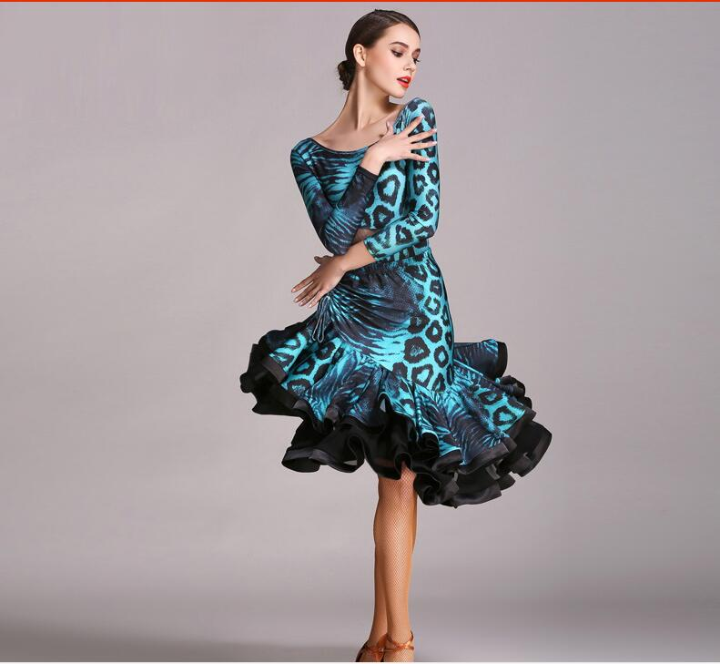 Leopard Latin dance dress Latin salsa competition dresses Women Latin dress dancing clothes blue sexy v neck lace details pajamas set with wire